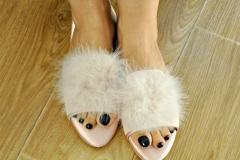 Pink silk slippers.