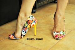 Multicolor high heels.